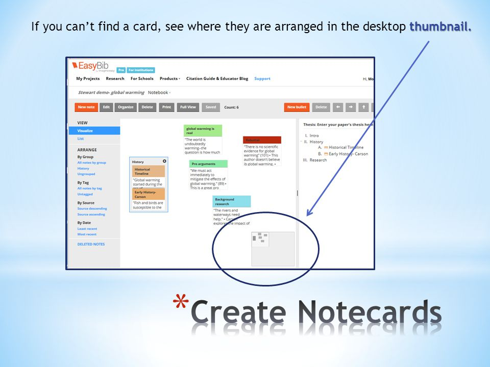 thumbnail. If you can't find a card, see where they are arranged in the desktop thumbnail.