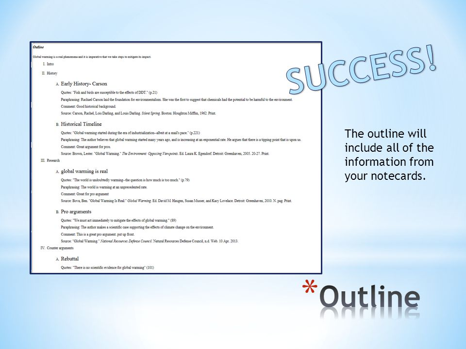 The outline will include all of the information from your notecards.