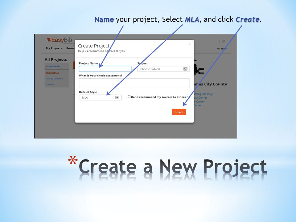 Name MLACreate Name your project, Select MLA, and click Create.