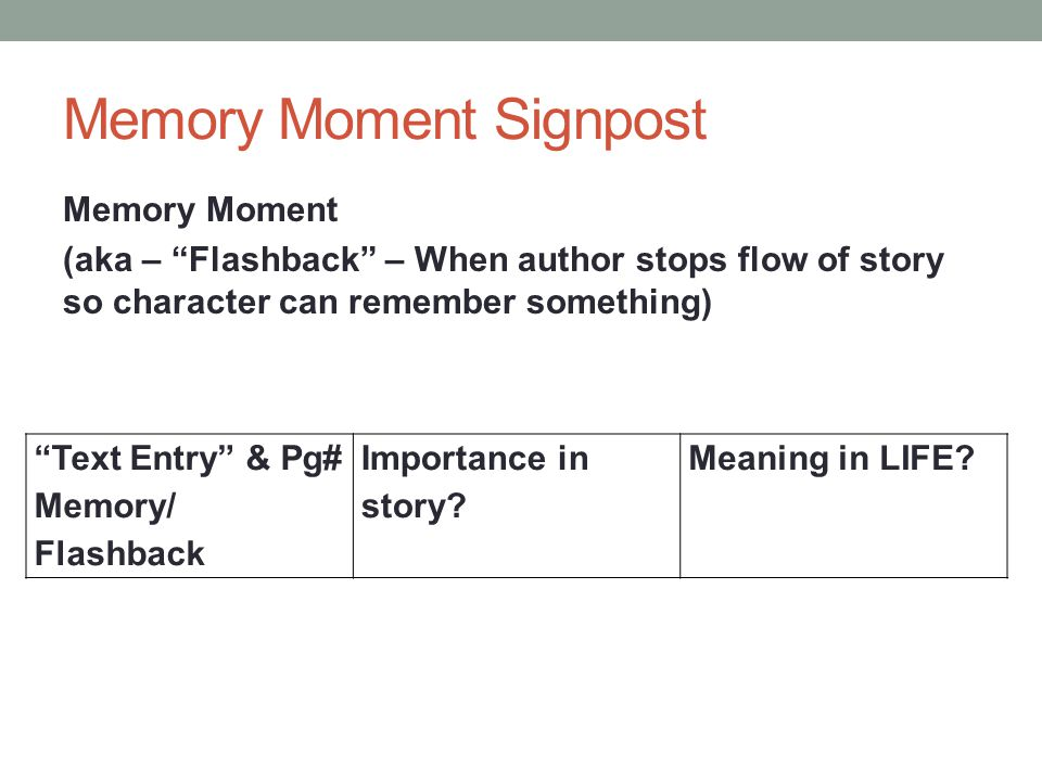 "Memory Moment Signpost Memory Moment (aka – ""Flashback"" – When author stops flow of story so character can remember something) ""Text Entry"" & Pg# Memo"