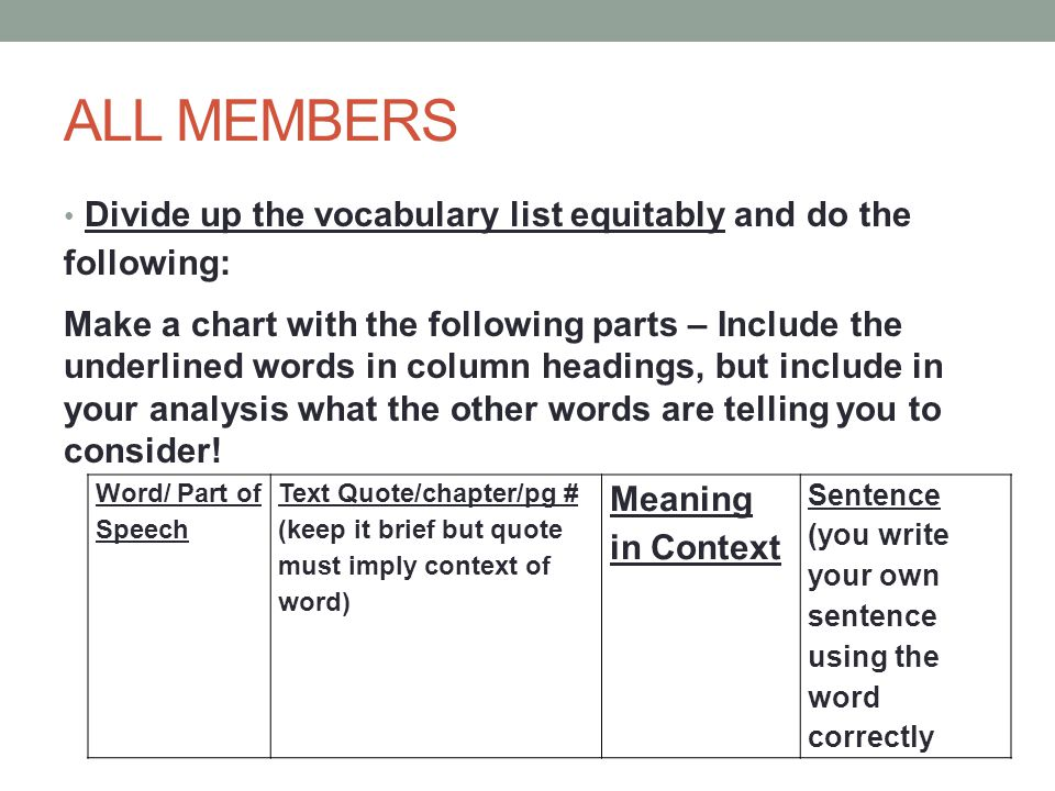 ALL MEMBERS Divide up the vocabulary list equitably and do the following: Make a chart with the following parts – Include the underlined words in colu
