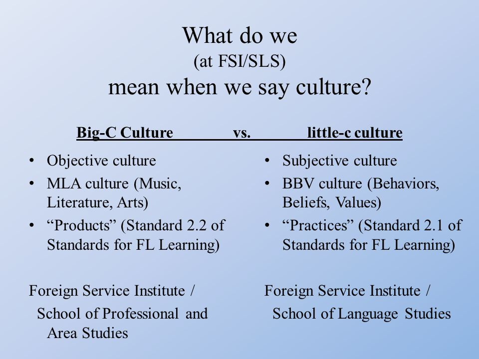 What do we (at FSI/SLS) mean when we say culture.