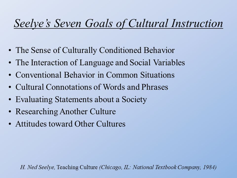 Seelye's Seven Goals of Cultural Instruction The Sense of Culturally Conditioned Behavior The Interaction of Language and Social Variables Conventional Behavior in Common Situations Cultural Connotations of Words and Phrases Evaluating Statements about a Society Researching Another Culture Attitudes toward Other Cultures H.
