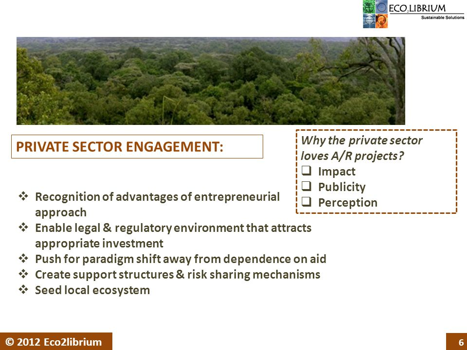 6 © 2012 Eco2librium PRIVATE SECTOR ENGAGEMENT:  Recognition of advantages of entrepreneurial approach  Enable legal & regulatory environment that attracts appropriate investment  Push for paradigm shift away from dependence on aid  Create support structures & risk sharing mechanisms  Seed local ecosystem Why the private sector loves A/R projects.