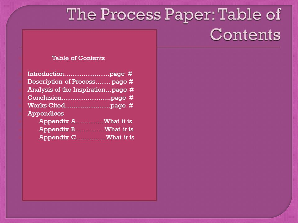  Table of Contents  Introduction…………………page #  Description of Process…….