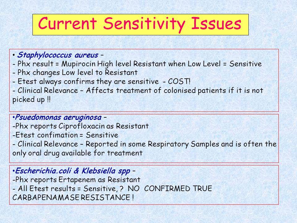 Current Sensitivity Issues Staphylococcus aureus – - Phx result = Mupirocin High level Resistant when Low Level = Sensitive - Phx changes Low level to