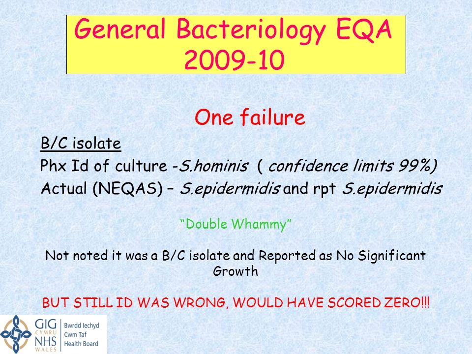 General Bacteriology EQA 2009-10 One failure B/C isolate Phx Id of culture -S.hominis ( confidence limits 99%) Actual (NEQAS) – S.epidermidis and rpt