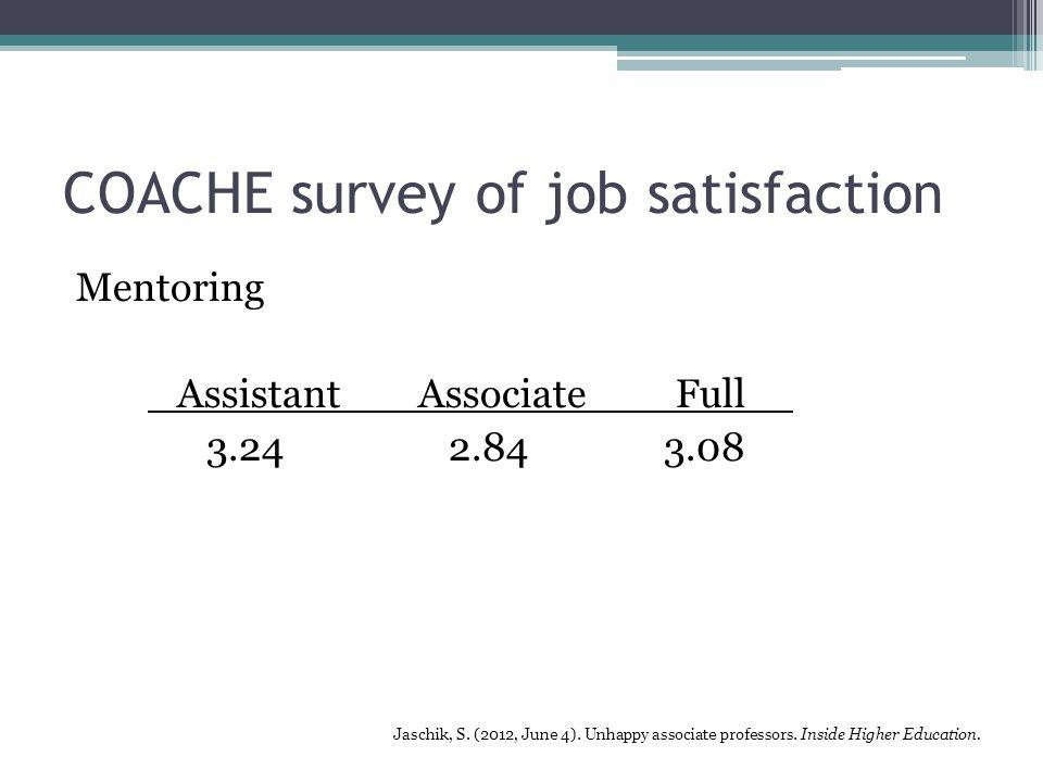 COACHE survey of job satisfaction Mentoring Assistant AssociateFull 3.24 2.84 3.08 Jaschik, S.