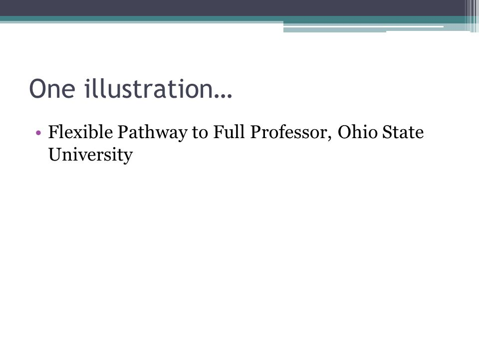 One illustration… Flexible Pathway to Full Professor, Ohio State University