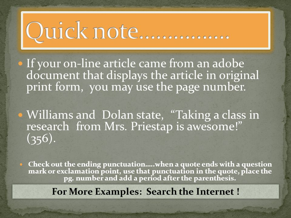 If your on-line article came from an adobe document that displays the article in original print form, you may use the page number.