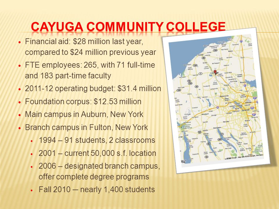 Financial aid: $28 million last year, compared to $24 million previous year FTE employees: 265, with 71 full-time and 183 part-time faculty 2011-12 operating budget: $31.4 million Foundation corpus: $12.53 million Main campus in Auburn, New York Branch campus in Fulton, New York 1994 – 91 students, 2 classrooms 2001 – current 50,000 s.f.