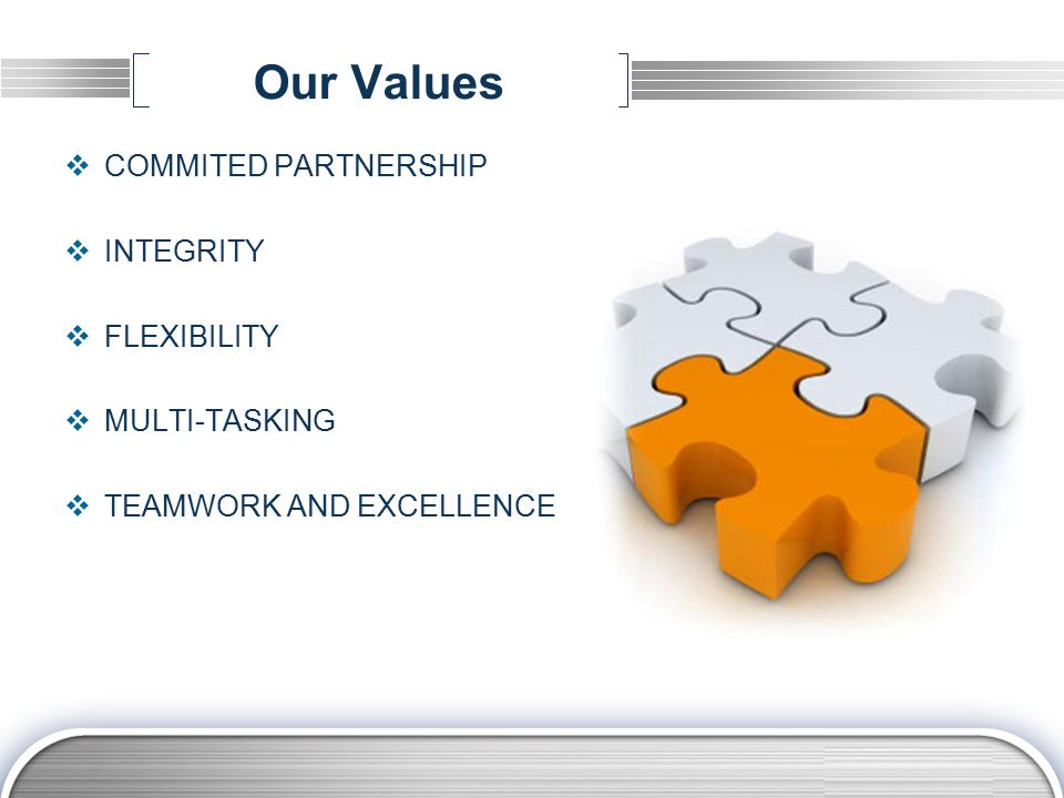 LOGO Our Values  COMMITED PARTNERSHIP  INTEGRITY  FLEXIBILITY  MULTI-TASKING  TEAMWORK AND EXCELLENCE