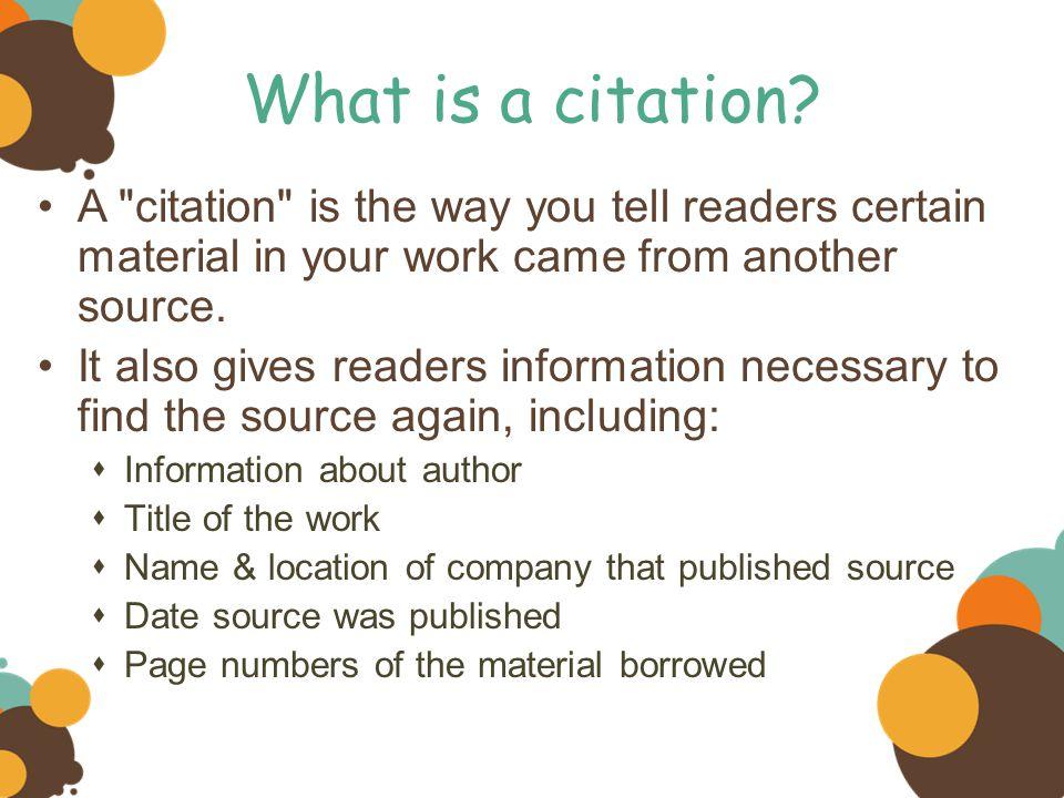 What is a citation? A