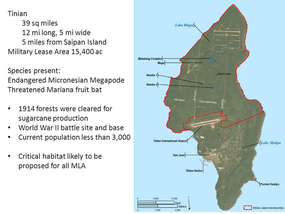Tinian, 1945 1914 forests were cleared for sugarcane production World War II battle site and base Current population less than 3,000