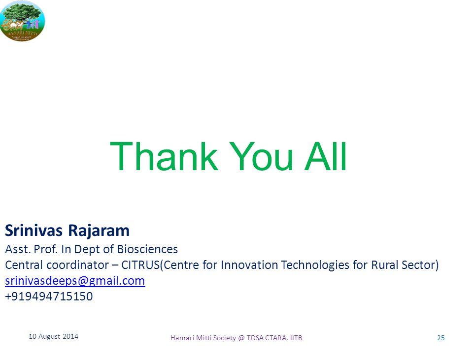 Thank You All 10 August 2014 Hamari Mitti Society @ TDSA CTARA, IITB25 Srinivas Rajaram Asst. Prof. In Dept of Biosciences Central coordinator – CITRU