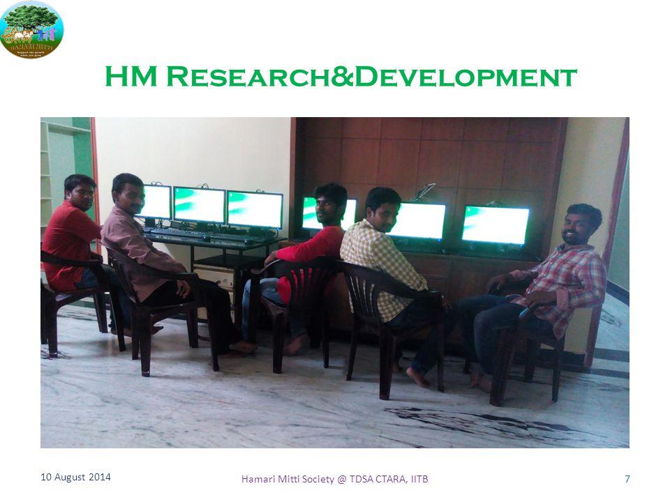 HM Research&Development 10 August 2014 7Hamari Mitti Society @ TDSA CTARA, IITB