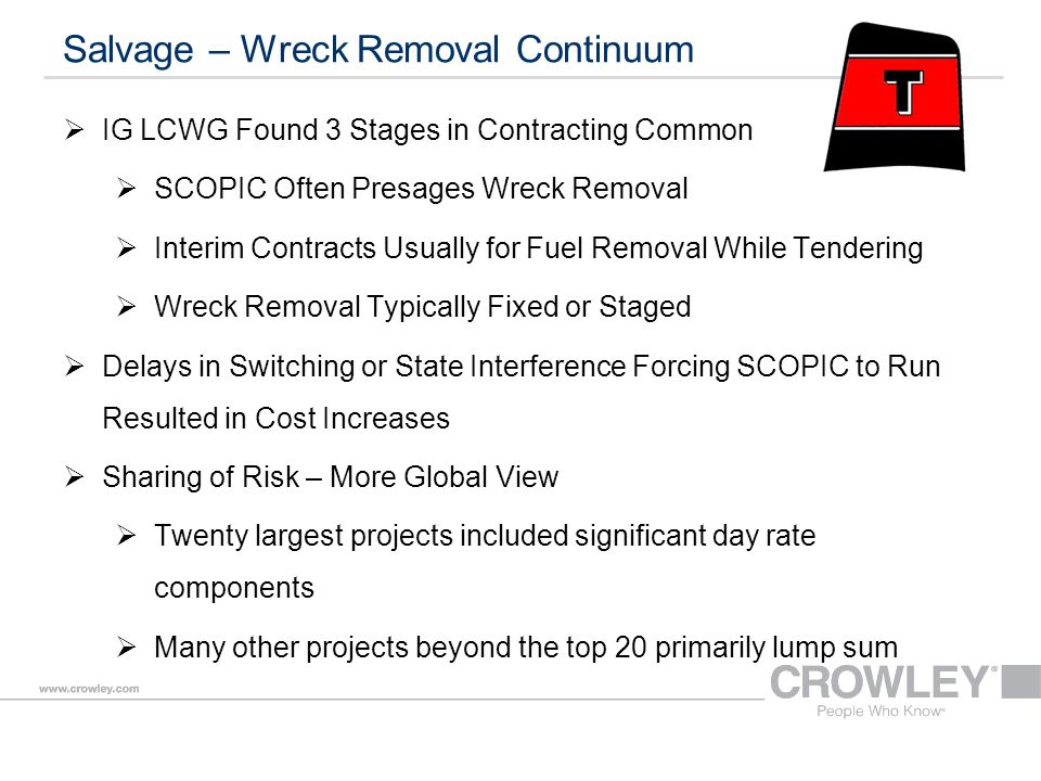 Salvage – Wreck Removal Continuum  IG LCWG Found 3 Stages in Contracting Common  SCOPIC Often Presages Wreck Removal  Interim Contracts Usually for Fuel Removal While Tendering  Wreck Removal Typically Fixed or Staged  Delays in Switching or State Interference Forcing SCOPIC to Run Resulted in Cost Increases  Sharing of Risk – More Global View  Twenty largest projects included significant day rate components  Many other projects beyond the top 20 primarily lump sum