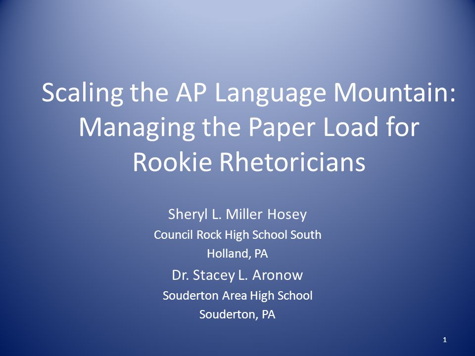 Scaling the AP Language Mountain: Managing the Paper Load for Rookie Rhetoricians Sheryl L.