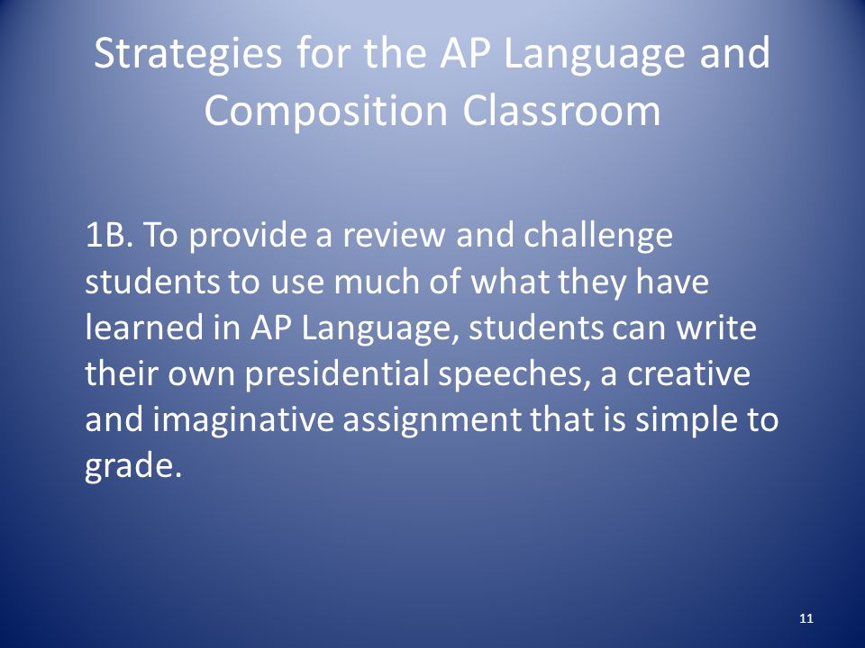 Strategies for the AP Language and Composition Classroom 1B.