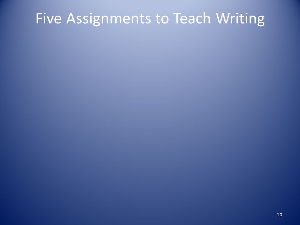 Five Assignments to Teach Writing 20
