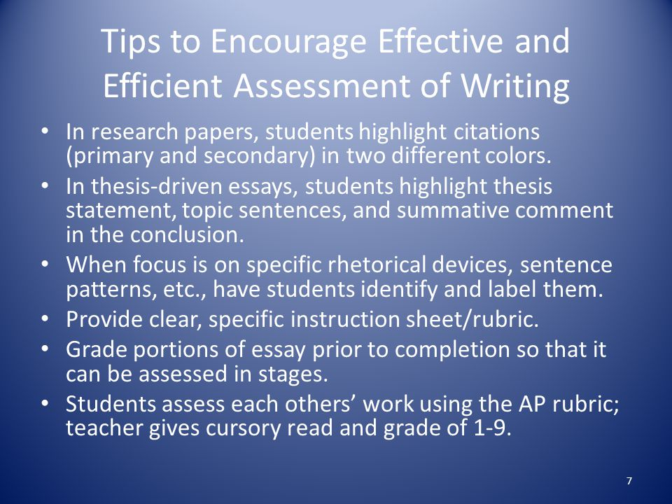 Tips to Encourage Effective and Efficient Assessment of Writing In research papers, students highlight citations (primary and secondary) in two different colors.