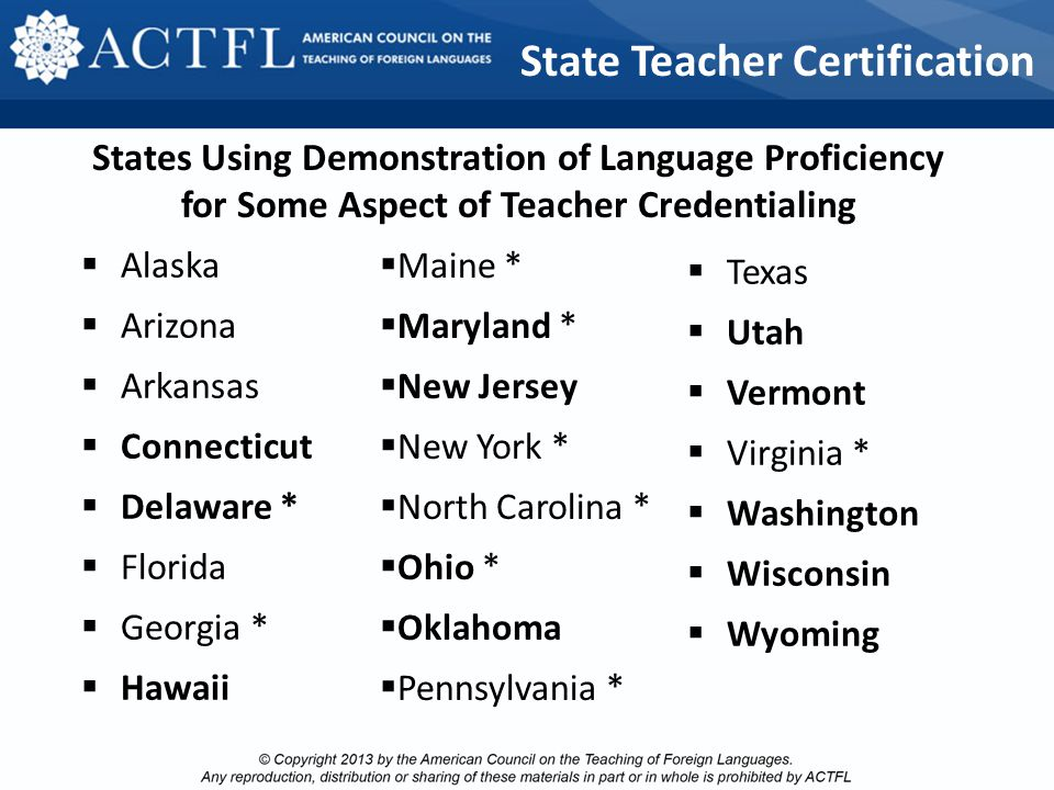 2013 ACTFL/CAEP Standards developed between 2009 and 2013 with input from the profession at all levels, aligned with the:  Standards for Foreign Lang