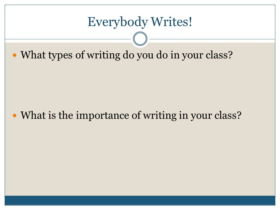 5 Reasons Why Writing Should Be Used Across the Curriculum 1.