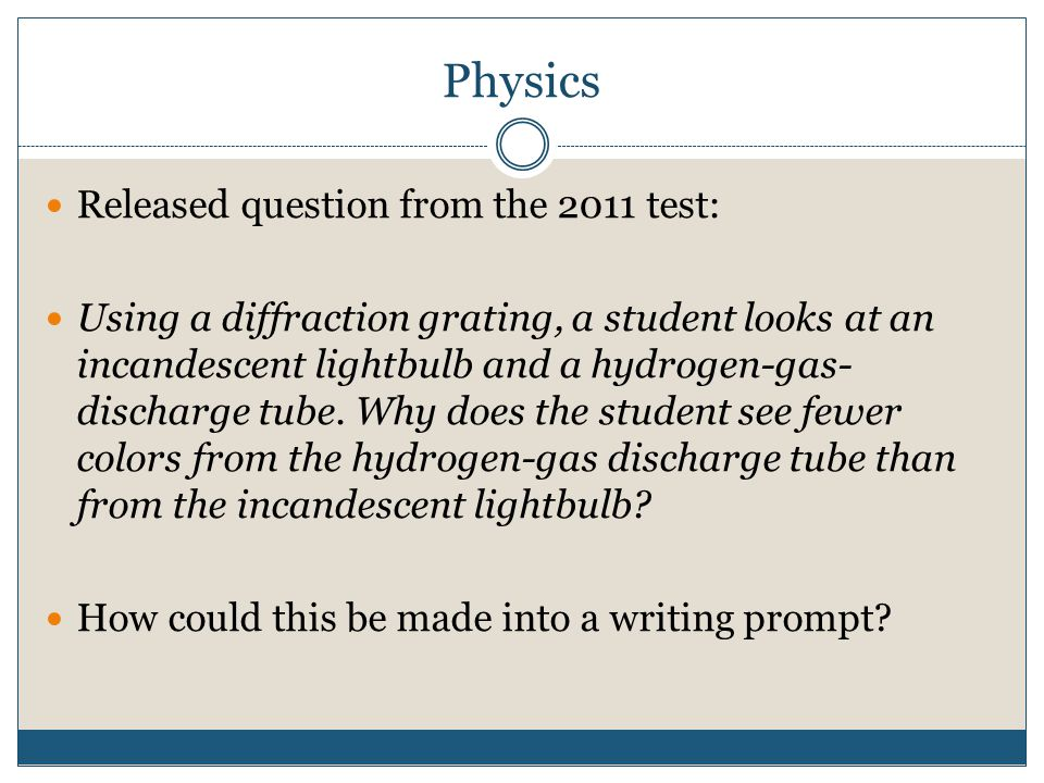 Physics Released question from the 2011 test: Using a diffraction grating, a student looks at an incandescent lightbulb and a hydrogen-gas- discharge tube.