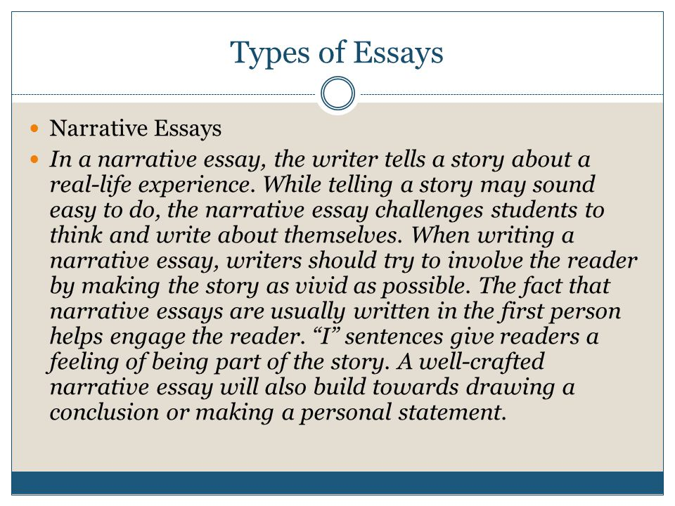 Types of Essays Descriptive Essays: A cousin of the narrative essay, a descriptive essay paints a picture with words.