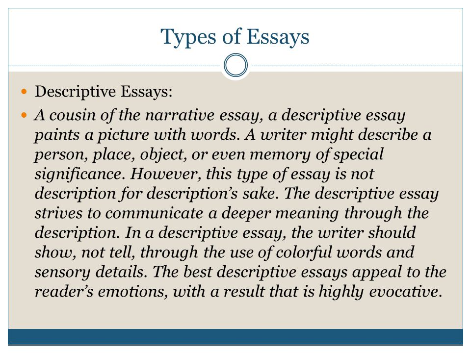 Types of Essays Expository Essays: Just the Facts - STAARS: Will always ask students to Explain something The expository essay is an informative piece of writing that presents a balanced analysis of a topic.