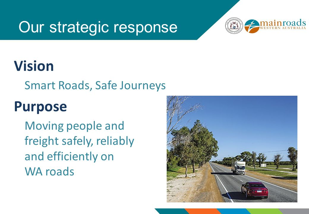 Our strategic response Vision Smart Roads, Safe Journeys Purpose Moving people and freight safely, reliably and efficiently on WA roads