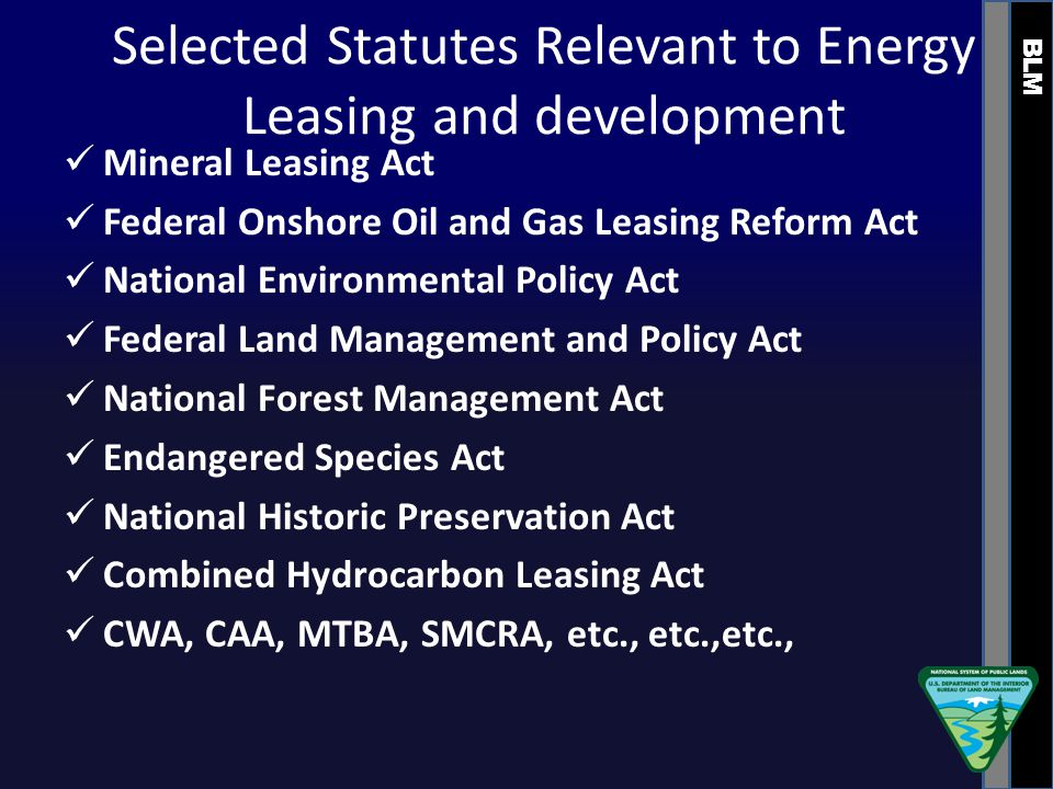 BLM Selected Statutes Relevant to Energy Leasing and development Mineral Leasing Act Federal Onshore Oil and Gas Leasing Reform Act National Environmental Policy Act Federal Land Management and Policy Act National Forest Management Act Endangered Species Act National Historic Preservation Act Combined Hydrocarbon Leasing Act CWA, CAA, MTBA, SMCRA, etc., etc.,etc.,