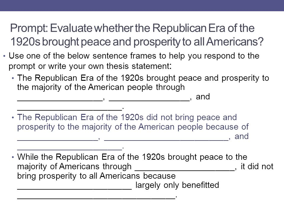 Prompt: Evaluate whether the Republican Era of the 1920s brought peace and prosperity to all Americans.