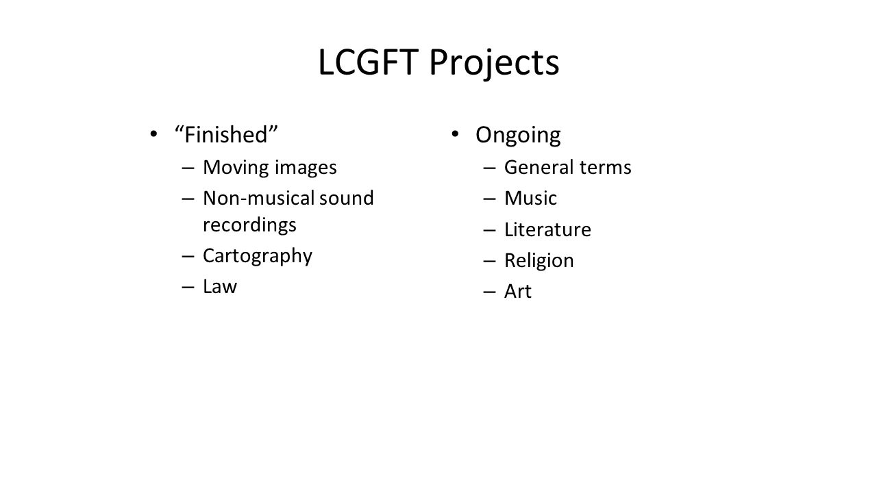 "LCGFT Projects ""Finished"" – Moving images – Non-musical sound recordings – Cartography – Law Ongoing – General terms – Music – Literature – Religion –"