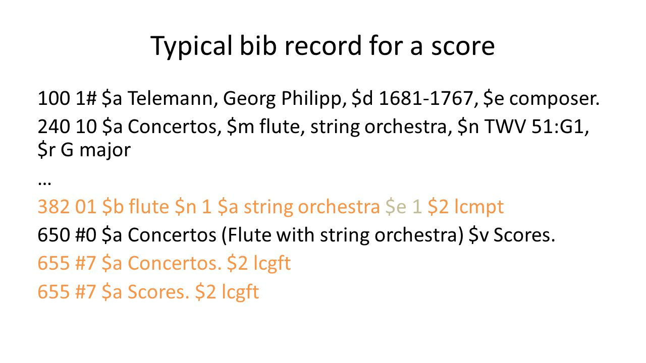 Typical bib record for a score 100 1# $a Telemann, Georg Philipp, $d 1681-1767, $e composer. 240 10 $a Concertos, $m flute, string orchestra, $n TWV 5