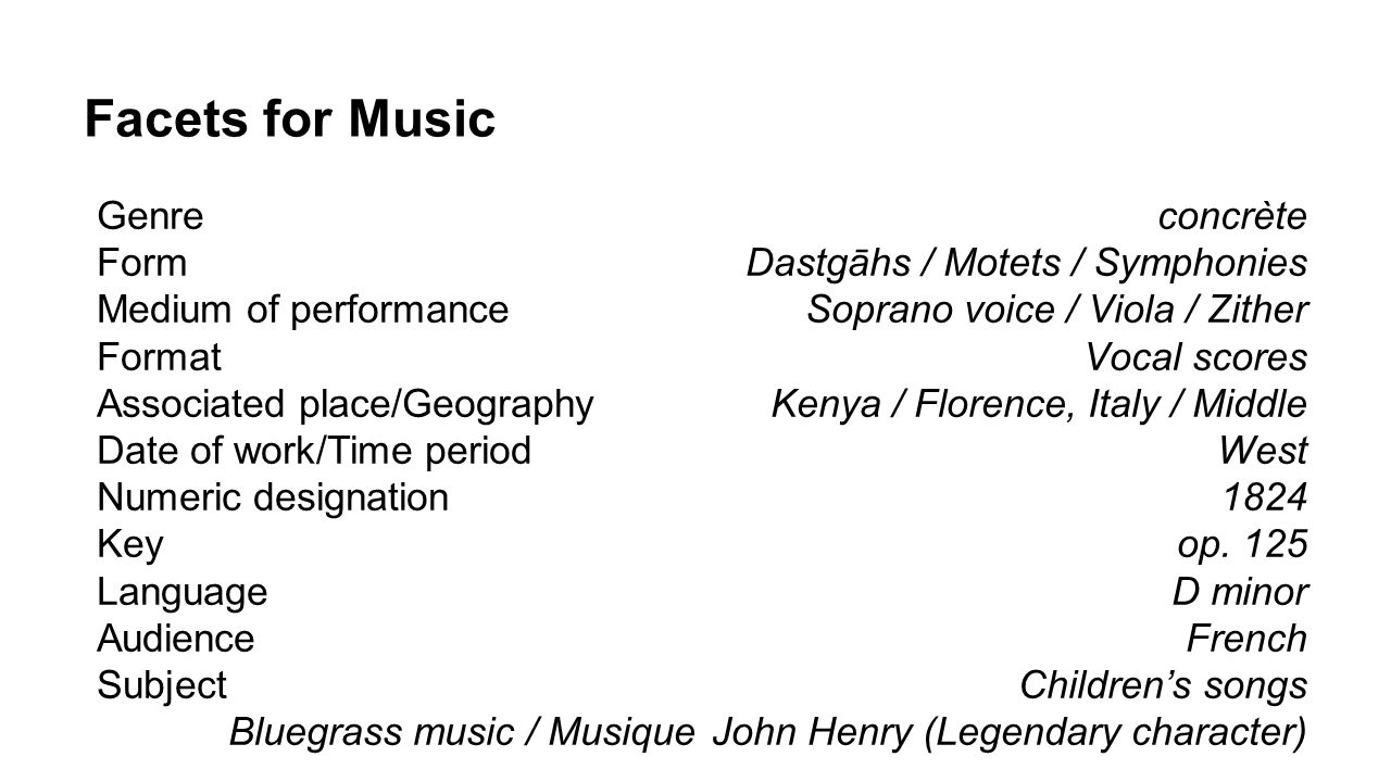 Facets for Music Genre Form Medium of performance Format Associated place/Geography Date of work/Time period Numeric designation Key Language Audience