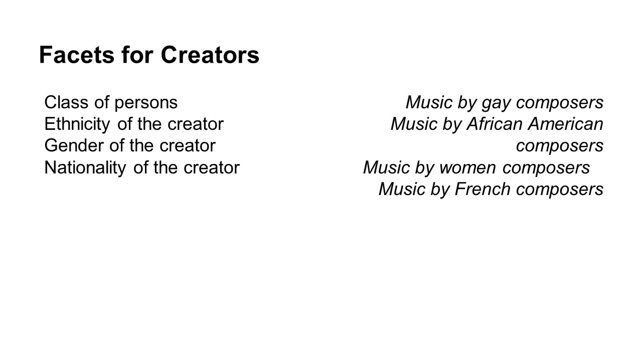 Facets for Creators Class of persons Ethnicity of the creator Gender of the creator Nationality of the creator Music by gay composers Music by African
