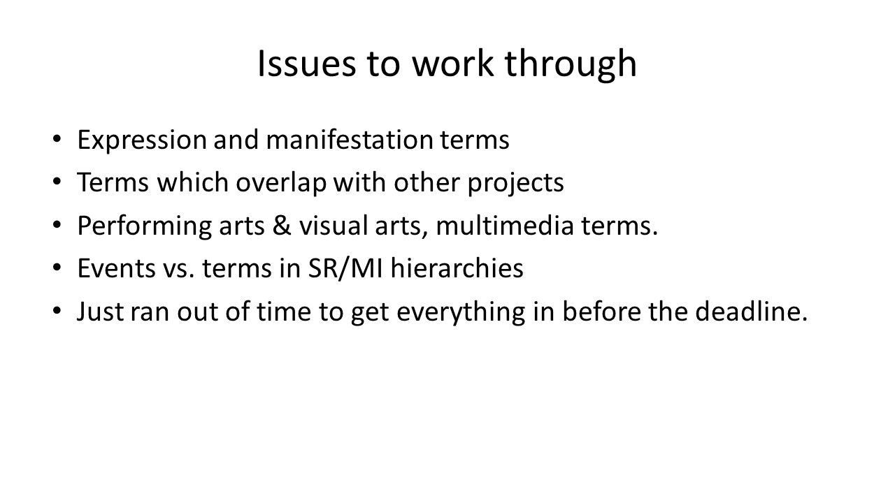 Issues to work through Expression and manifestation terms Terms which overlap with other projects Performing arts & visual arts, multimedia terms. Eve