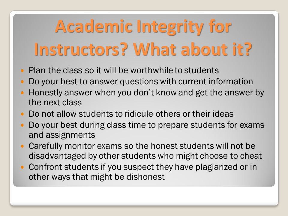 Academic Integrity for Instructors. What about it.