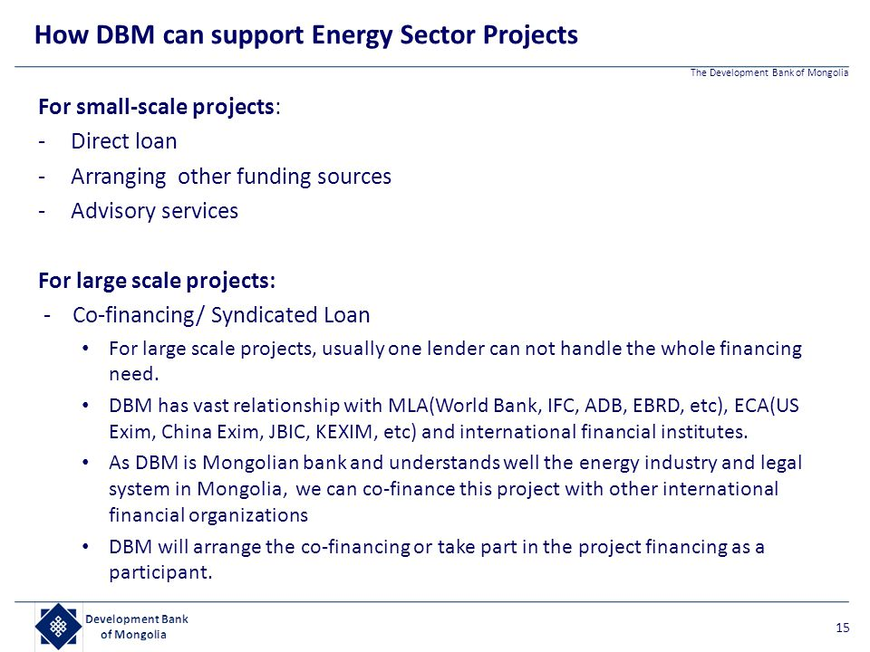 The Development Bank of Mongolia For small-scale projects: -Direct loan -Arranging other funding sources -Advisory services For large scale projects: