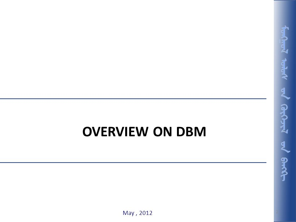 2 OVERVIEW ON DBM