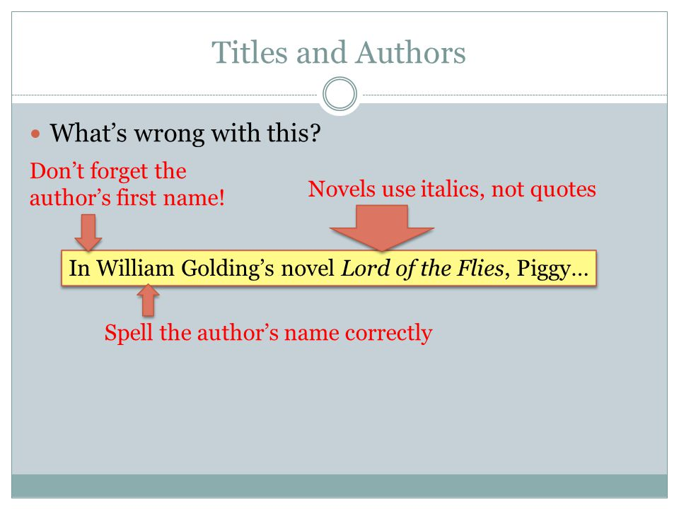 Titles and Authors What's wrong with this? In William Golding's novel Lord of the Flies, Piggy… Don't forget the author's first name! Spell the author