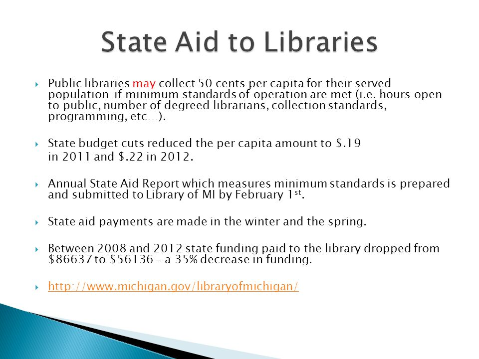  Public libraries may collect 50 cents per capita for their served population if minimum standards of operation are met (i.e.