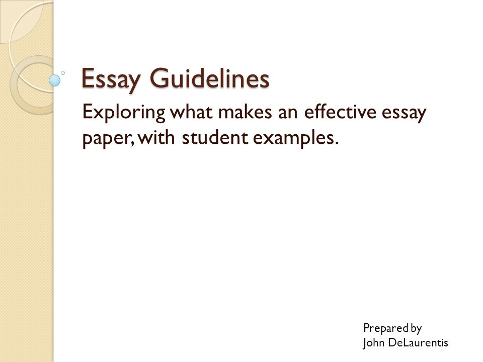 Essay Guidelines Exploring what makes an effective essay paper, with student examples.