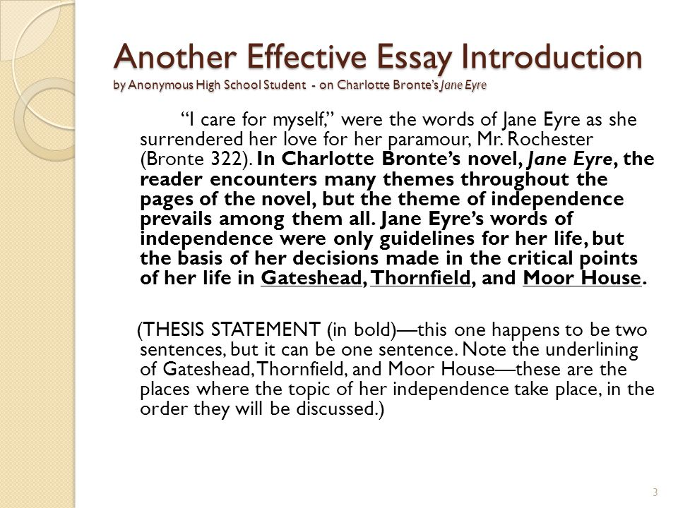 Another Effective Essay Introduction by Anonymous High School Student - on Charlotte Bronte's Jane Eyre I care for myself, were the words of Jane Eyre as she surrendered her love for her paramour, Mr.