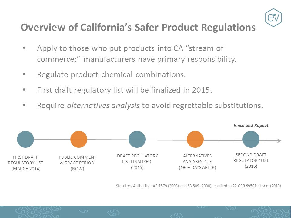 "Overview of California's Safer Product Regulations Apply to those who put products into CA ""stream of commerce;"" manufacturers have primary responsibi"