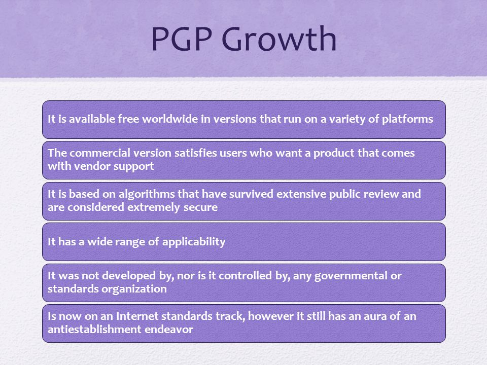 Table 19.1 Summary of PGP Services