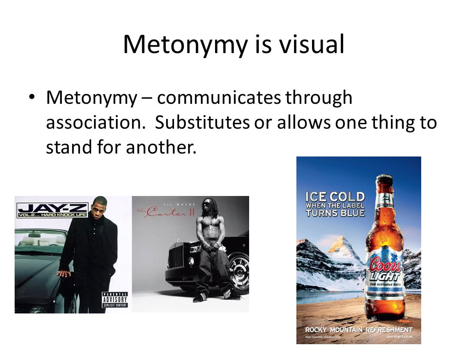 Metonymy is visual Metonymy – communicates through association.