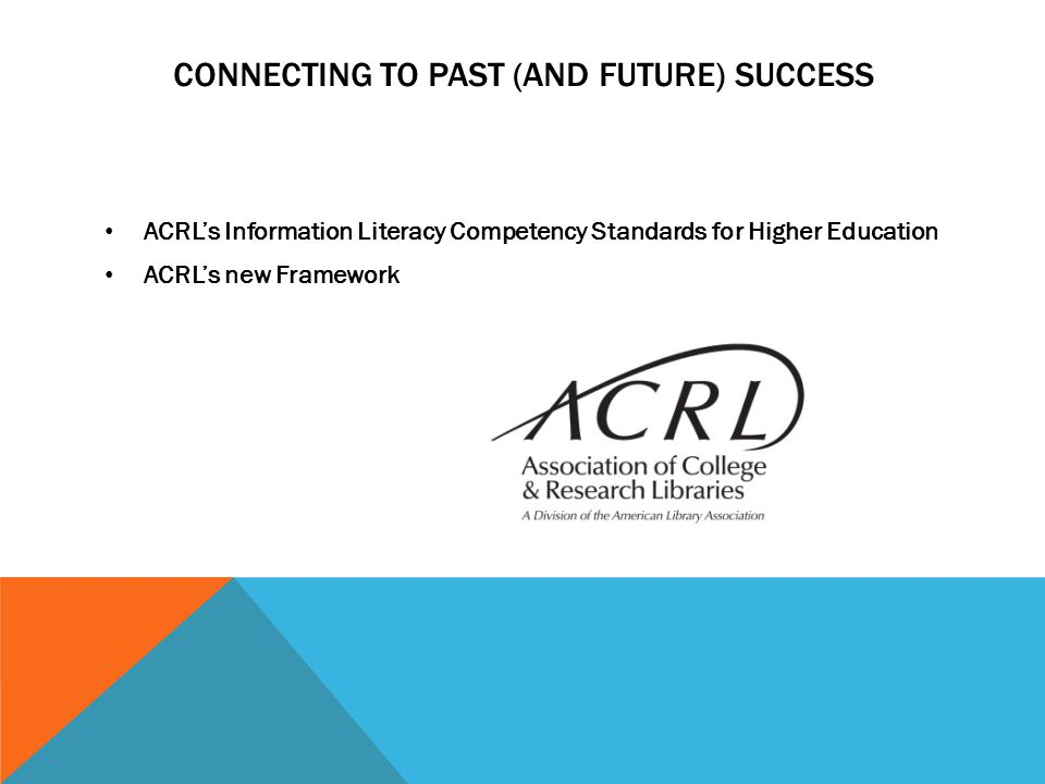 CONNECTING TO PAST (AND FUTURE) SUCCESS ACRL's Information Literacy Competency Standards for Higher Education ACRL's new Framework