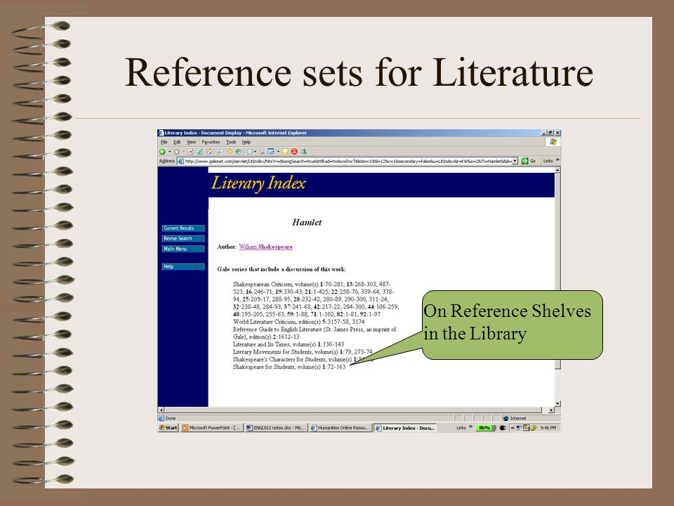 Reference sets for Literature On Reference Shelves in the Library